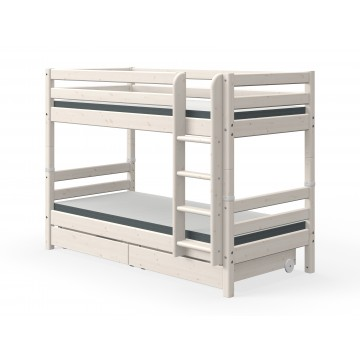 CLASSIC – BUNK BED – W. PULL OUT DRAWERS – WHITE WASHED