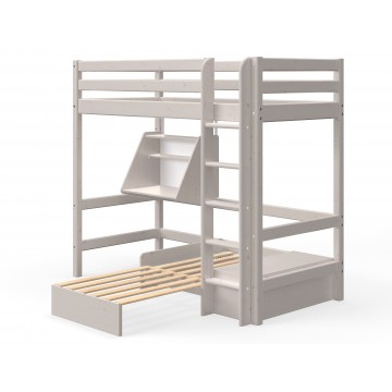 CLASSIC – CASA HIGH BED W. STRAIGHT LADDER – GREY WASHED