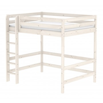 CLASSIC – HIGH BED 140CM – W. STRAIGHT LADDER – WHITE WASHED