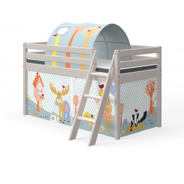 CLASSIC - MID HIGH BED - SLANTING LADDER - GREY WASHED