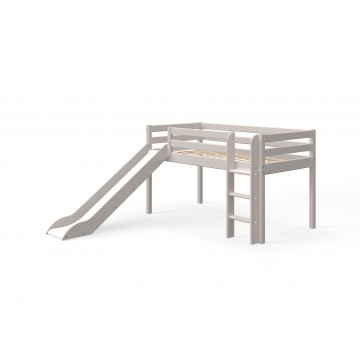 CLASSIC - MID HIGH BED - STRAIGHT LADDER W. SLIDE - GREY WASHED
