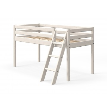 CLASSIC - MID HIGH BED - SLANTING LADDER - WHITE WASHED