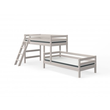 CLASSIC - SEMI HIGH BED W. SINGLE BED + SLANTING LADDER – GREY WASHED