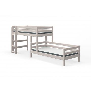 CLASSIC - SEMI HIGH BED W. SINGLE BED + STRAIGHT LADDER – GREY WASHED