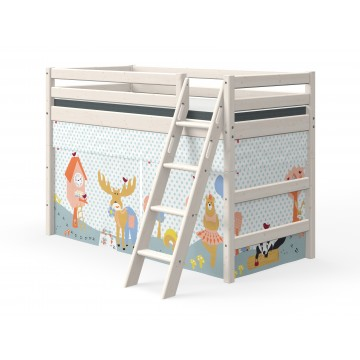 CLASSIC - SEMI HIGH BED W. SLANTING LADDER – WHITE WASHED