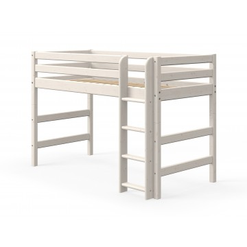 CLASSIC - SEMI HIGH BED W. STRAIGHT LADDER – WHITE WASHED