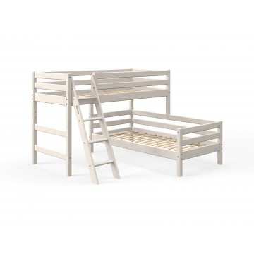 CLASSIC - SEMI HIGH BED W. SINGLE BED + SLANTING LADDER – WHITE WASHED