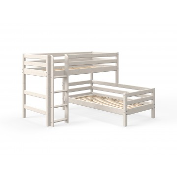 CLASSIC - SEMI HIGH BED W. SINGLE BED + STRAIGHT LADDER – WHITE WASHED