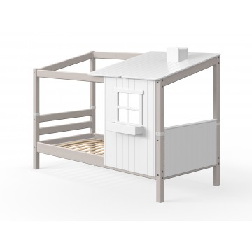 CLASSIC - SINGLE BED - 1/2 HOUSE - GREY WASHED / WHITE