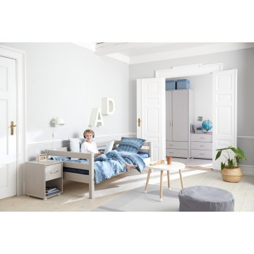 CLASSIC - SINGLE BED -  W. 2 DRAWERS - WHITE WASHED
