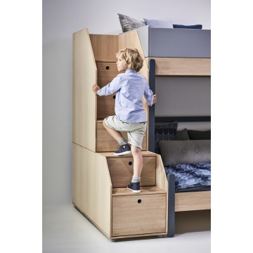 POPSICLE – FAMILY BED W. STORAGE STAIRCASE – CHERRY