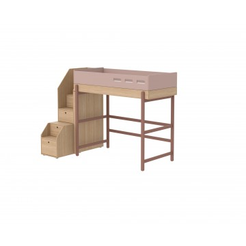 POPSICLE – HIGH BED W. STORAGE STAIRCASE – CHERRY