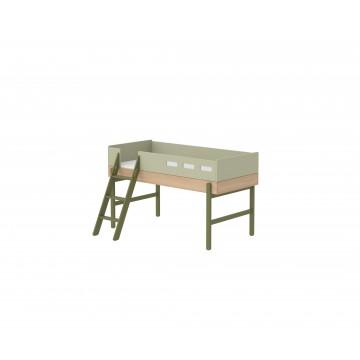 POPSICLE – MID HIGH BED W. SLANTING LADDER – KIWI
