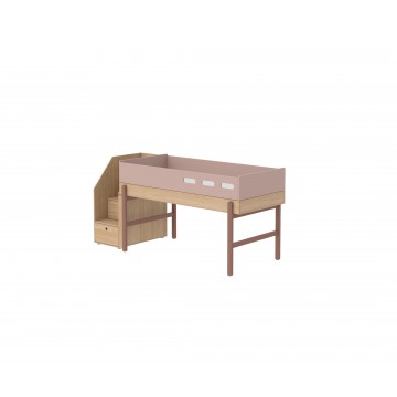 POPSICLE – MID HIGH BED W. STORAGE STAIRCASE – CHERRY