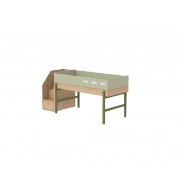 POPSICLE – MID HIGH BED W. STORAGE STAIRCASE – KIWI