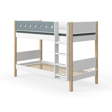 WHITE – BUNK BED – CLEAR LACQUER / BLUE