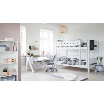 WHITE – BUNK BED EXTRA HEIGHT – CLEAR LACQUER / BLUE
