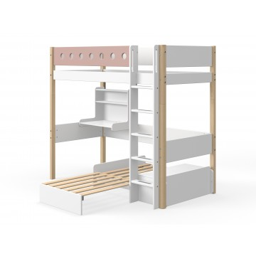 WHITE – CASA HIGH BED – CLEAR LACQUER / ROSE