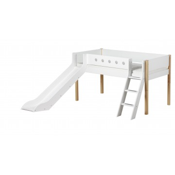WHITE – MID HIGH BED W. SLANTING LADDER & SLIDE – CLEAR LACQUER / WHITE