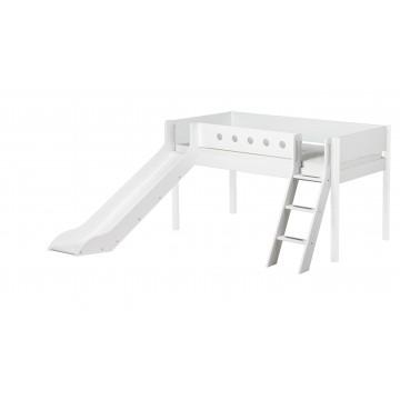 WHITE – MID HIGH BED W. SLANTING LADDER & SLIDE – WHITE / WHITE