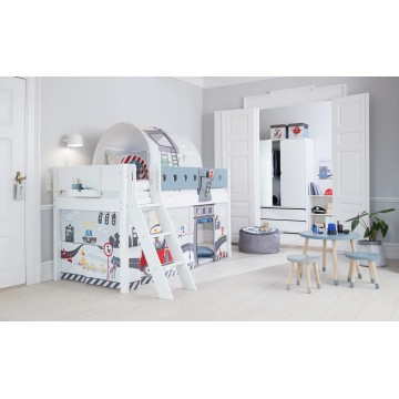 WHITE – MID HIGH BED W. SLANTING LADDER – CLEAR LACQUER / BLUE