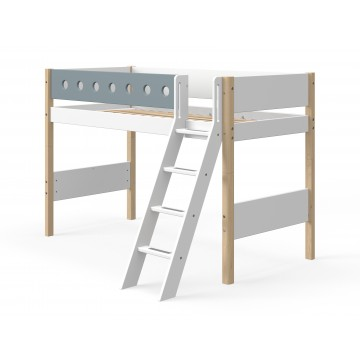 WHITE – SEMI HIGH BED W. SLANTING LADDER – CLEAR LACQUER / BLUE