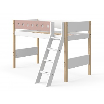 WHITE – SEMI HIGH BED W. SLANTING LADDER – CLEAR LACQUER / ROSE