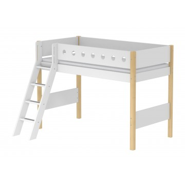 WHITE – SEMI HIGH BED W. SLANTING LADDER – CLEAR LACQUER / WHITE