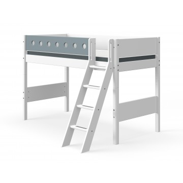 WHITE – SEMI HIGH BED W. SLANTING LADDER – WHITE / BLUE