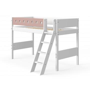 WHITE – SEMI HIGH BED W. SLANTING LADDER – WHITE / ROSE
