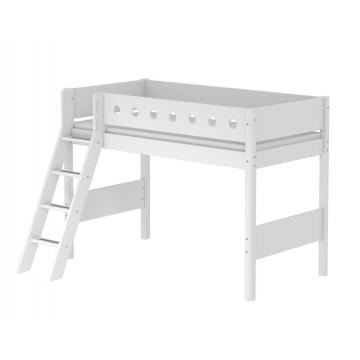 WHITE – SEMI HIGH BED W. SLANTING LADDER – WHITE / WHITE