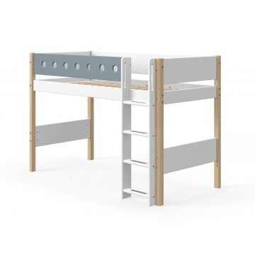 WHITE – SEMI HIGH BED W. STRAIGHT LADDER – CLEAR LACQUER / BLUE
