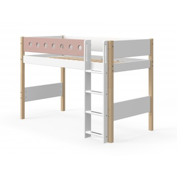 WHITE – SEMI HIGH BED W. STRAIGHT LADDER – CLEAR LACQUER / ROSE