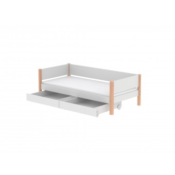 WHITE – SINGLE BED W. UNDERBED DRAWERS – CLEAR LACQUER LEGS