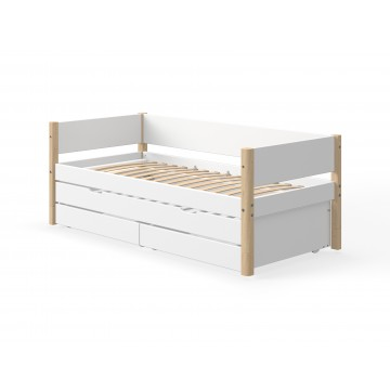WHITE – SINGLE BED W. TRUNDLE BED – CLEAR LACQUER LEGS