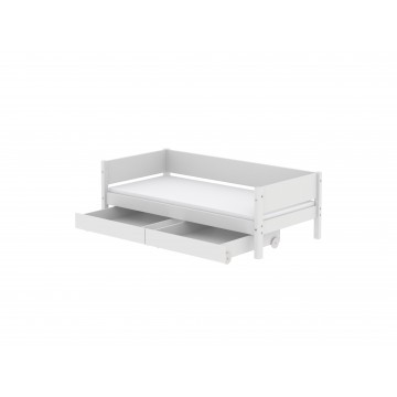 WHITE – SINGLE BED W. UNDERBED DRAWERS – WHITE LEGS
