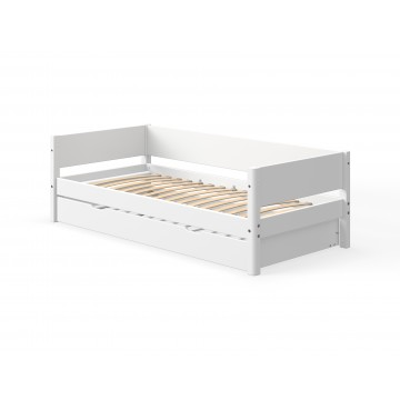 WHITE – SINGLE BED W. PULL OUT BED – WHITE LEGS
