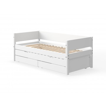 WHITE – SINGLE BED W. TRUNDLE BED – WHITE LEGS