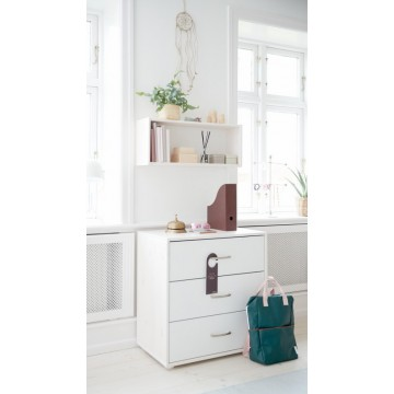 CHEST WITH 3 DRAWERS - GREY WASHED - WHITE