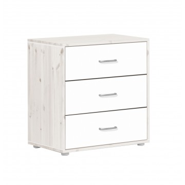 CHEST WITH 3 DRAWERS - WHITE WASHED - WHITE